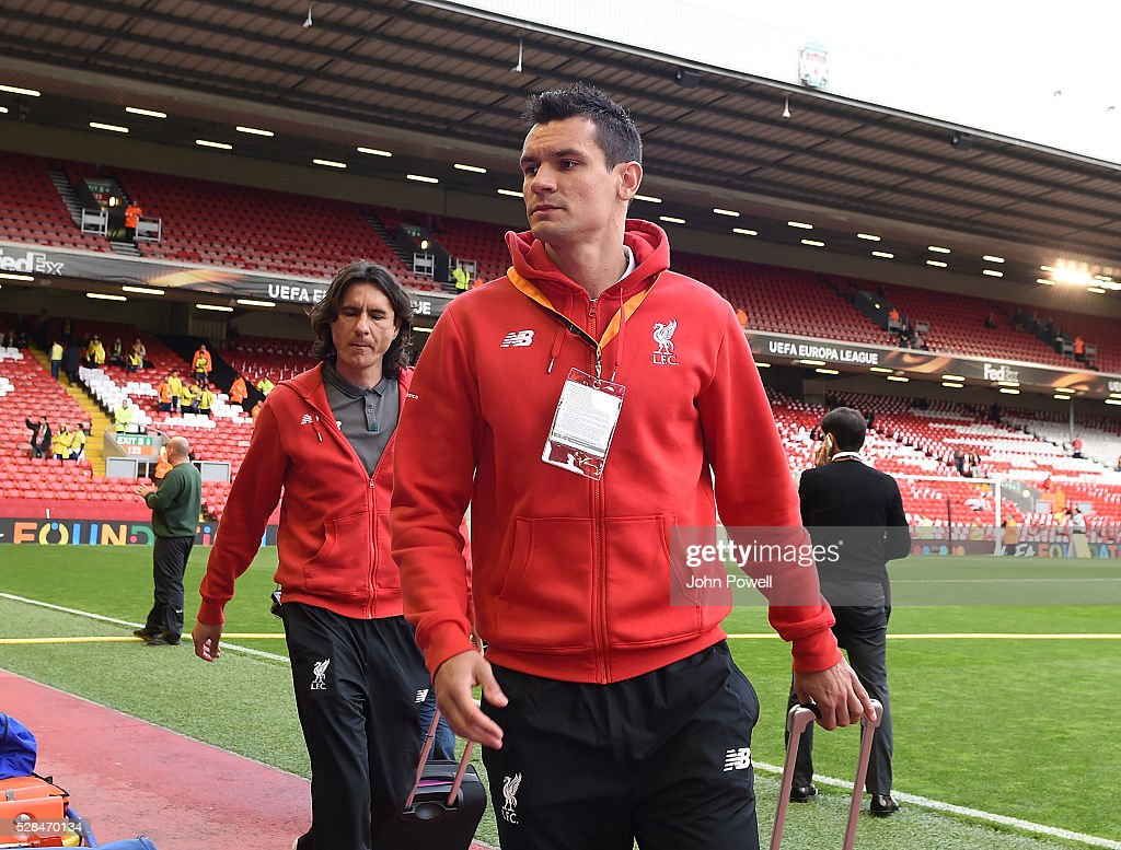 Dejan Lovren of Liverpool arrives before the UEFA Europa League Semi Final: Second Leg match between Liverpool and Villarreal CF at Anfield on May 05, 2016 in Liverpool, England.