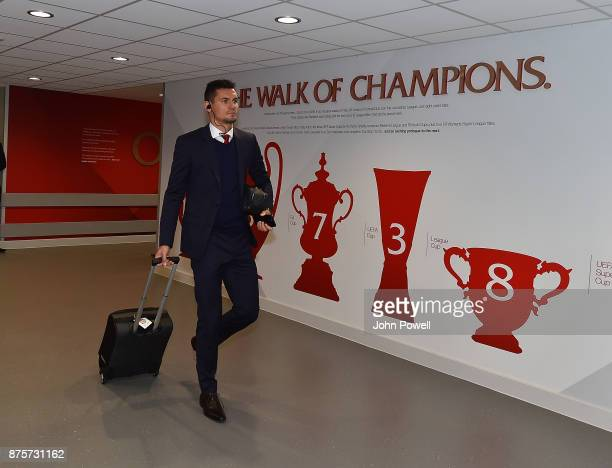 Dejan Lovren of Liverpool arriving for the Premier League match between Liverpool and Southampton at Anfield on November 18 2017 in Liverpool England