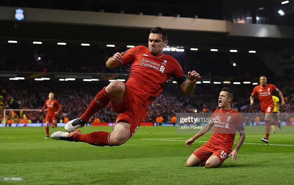 Dejan Lovren of Liverpool celebrates after scoring during the UEFA Europa League Quarter Final: Second Leg match between Liverpool and Borussia Dortmund at Anfield on April 14, 2016 in Liverpool, United Kingdom.