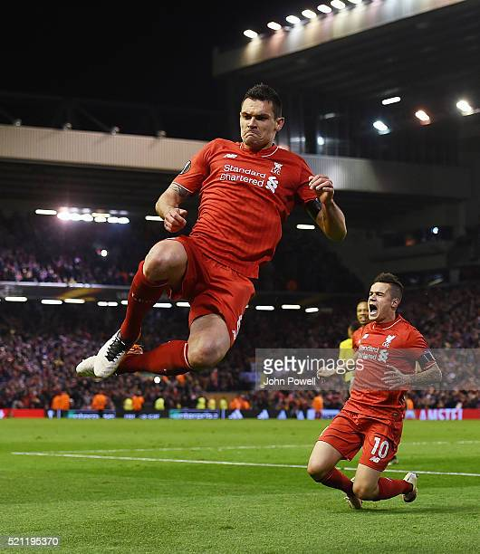 Dejan Lovren of Liverpool celebrates after scoring during the UEFA Europa League Quarter Final Second Leg match between Liverpool and Borussia...