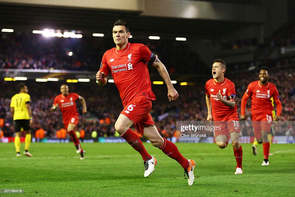 <a gi-track='captionPersonalityLinkClicked' href=/galleries/search?phrase=Dejan+Lovren&family=editorial&specificpeople=5577379 ng-click='$event.stopPropagation()'>Dejan Lovren</a> of Liverpool celebrates scoring his team's fourth goal during the UEFA Europa League quarter final, second leg match between Liverpool and Borussia Dortmund at Anfield on April 14, 2016 in Liverpool, United Kingdom.