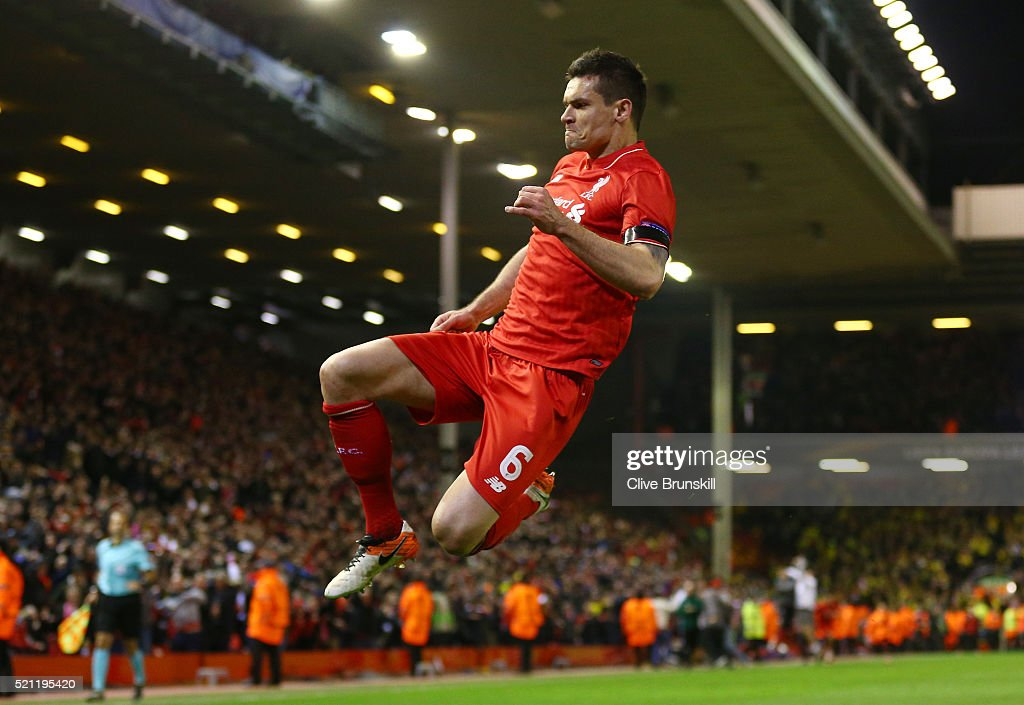 Dejan Lovren of Liverpool celebrates scoring his team's fourth goal during the UEFA Europa League quarter final, second leg match between Liverpool and Borussia Dortmund at Anfield on April 14, 2016 in Liverpool, United Kingdom.