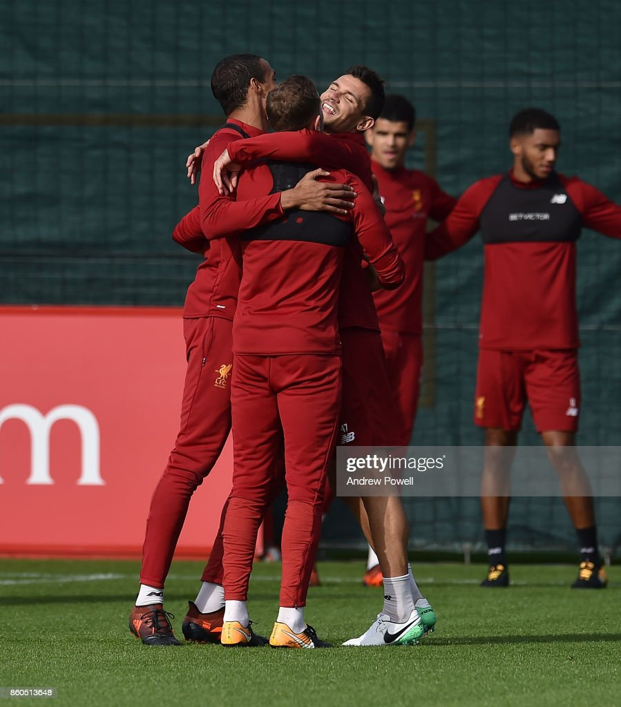 Dejan Lovren of Liverpool during a training session at Melwood Training Ground on October 12, 2017 in Liverpool, England.