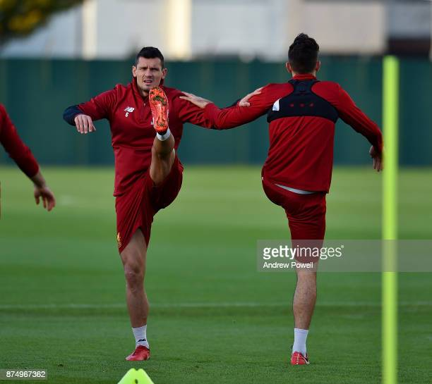 Dejan Lovren of Liverpool during a training session at Melwood Training Ground on November 16 2017 in Liverpool England