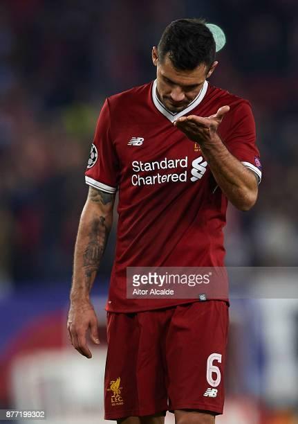 Dejan Lovren of Liverpool FC reacts during the UEFA Champions League group E match between Sevilla FC and Liverpool FC at Estadio Ramon Sanchez...