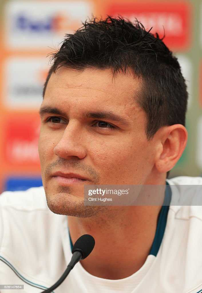 <a gi-track='captionPersonalityLinkClicked' href=/galleries/search?phrase=Dejan+Lovren&family=editorial&specificpeople=5577379 ng-click='$event.stopPropagation()'>Dejan Lovren</a> of Liverpool looks on during a press conference ahead of the UEFA Europa League Semi-Final Second Leg match against Villarreal at Melwood Training Ground on May 4, 2016 in Liverpool, England.