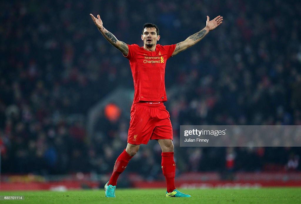 Dejan Lovren of Liverpool reacts during the EFL Cup Semi-Final Second Leg match between Liverpool and Southampton at Anfield on January 25, 2017 in Liverpool, England.