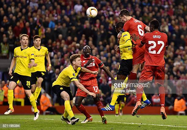 Dejan Lovren of Liverpool scores the fourth for Liverpool during the UEFA Europa League Quarter Final Second Leg match between Liverpool and Borussia...