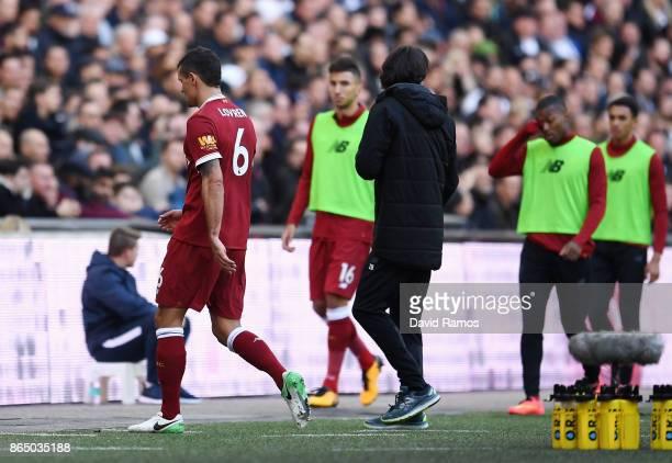 Dejan Lovren of Liverpool walks off during the Premier League match between Tottenham Hotspur and Liverpool at Wembley Stadium on October 22 2017 in...