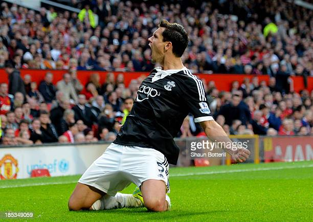 Dejan Lovren of Southampton celebrates after scoring a late goal to level the scores at 11 during the Barclays Premier League match between...