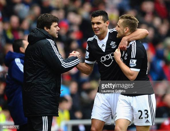 Dejan Lovren of Southampton celebrates with Mauricio Pochettino manager of Southampton and Luke Shaw as he scores their second goal during the...