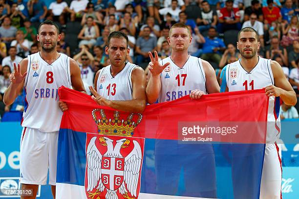 Dejan Majstorovic Marko Zdero Marko Savic and Dusan DomovicBulut of Serbia celebrate winning bronze after the Men's 3x3 Basketball bronze medal match...