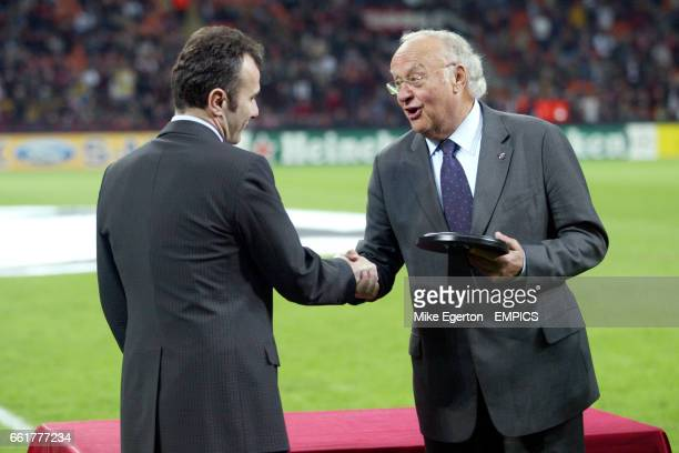 Dejan Savicevic recieves his award from UEFA