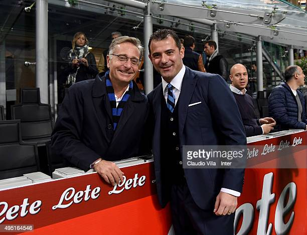 Dejan Stankovic and Paolo Bonolis pose for a photo prior to the Serie A match between FC Internazionale Milano and AS Roma at Stadio Giuseppe Meazza...