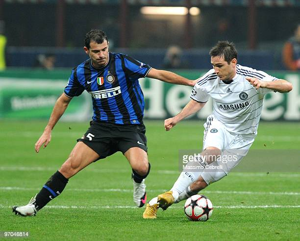 Dejan Stankovic of FC Inter Milan battles for the ball against Frank Lampard of Chelsea during the UEFA Champions League round of 16 first leg match...