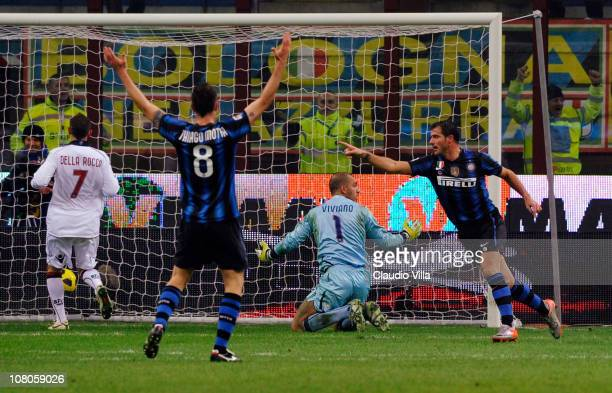 Dejan Stankovic of FC Internazionale Milano celebrates scoring the first goal during the Serie A match between Inter and Bologna at Stadio Giuseppe...