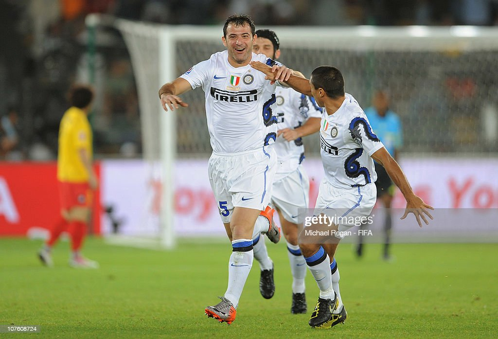 Dejan Stankovic of FC Internazionale Milano celebrates scoring to make it 1-0 during the FIFA Club World Cup match between Seongnam Ilhwa Chunma FC and Inter Milan at Zayed Sports City on December 15, 2010 in Abu Dhabi, United Arab Emirates.