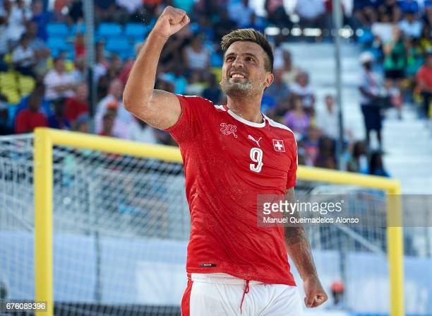 Dejan Stankovic of Switzerland celebrates victory in the penalty shootout during the FIFA Beach Soccer World Cup Bahamas 2017 group A match between...