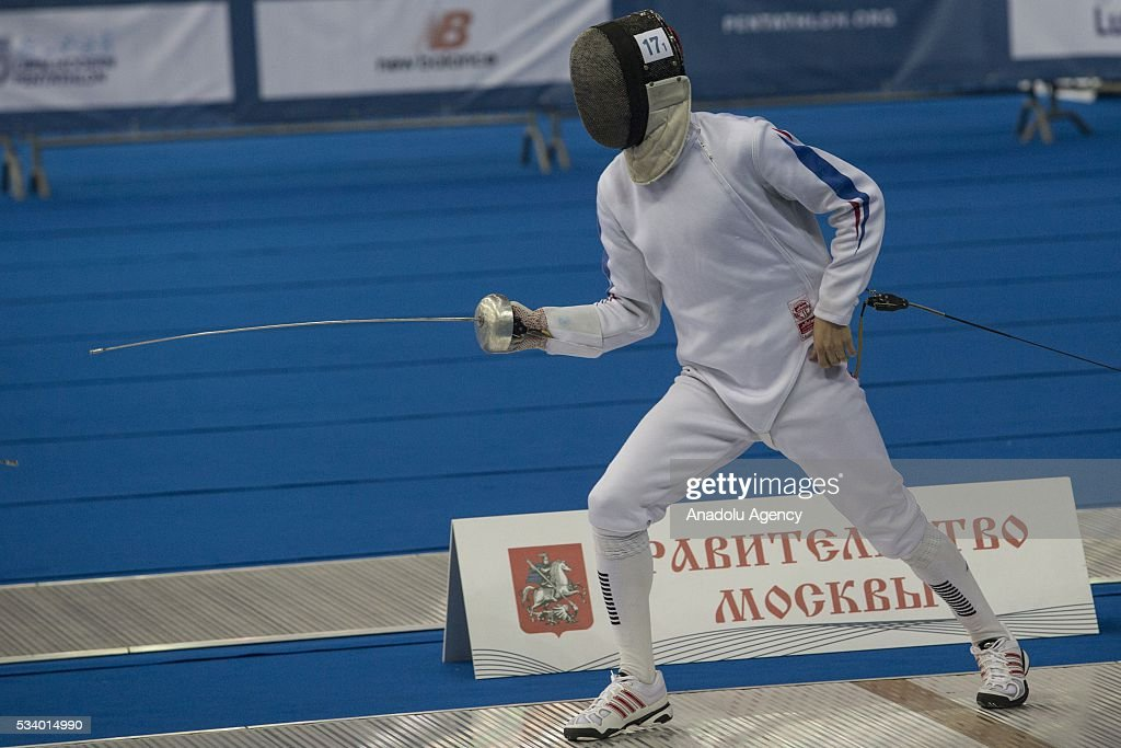 Dejardin Pierre (France) during the men's relay World Championship in modern pentathlon in Moscow in Olympic Sports Complex in Moscow, Russia, on May 24, 2016.