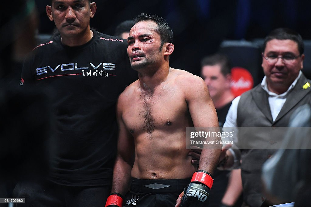 Dejdamrong Sor Amnuaysirichoke of Thailand looks during the OneFC Kingdom of Champions on May 27, 2016 in Bangkok, Thailand.