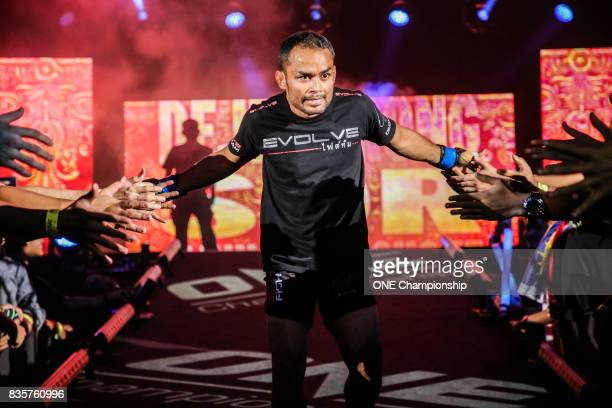 Dejdamrong Sor Amnuaysirichoke prepares for his bout against Robin Catalan during ONE Championship Quest For Greatness at the Stadium Negara on...