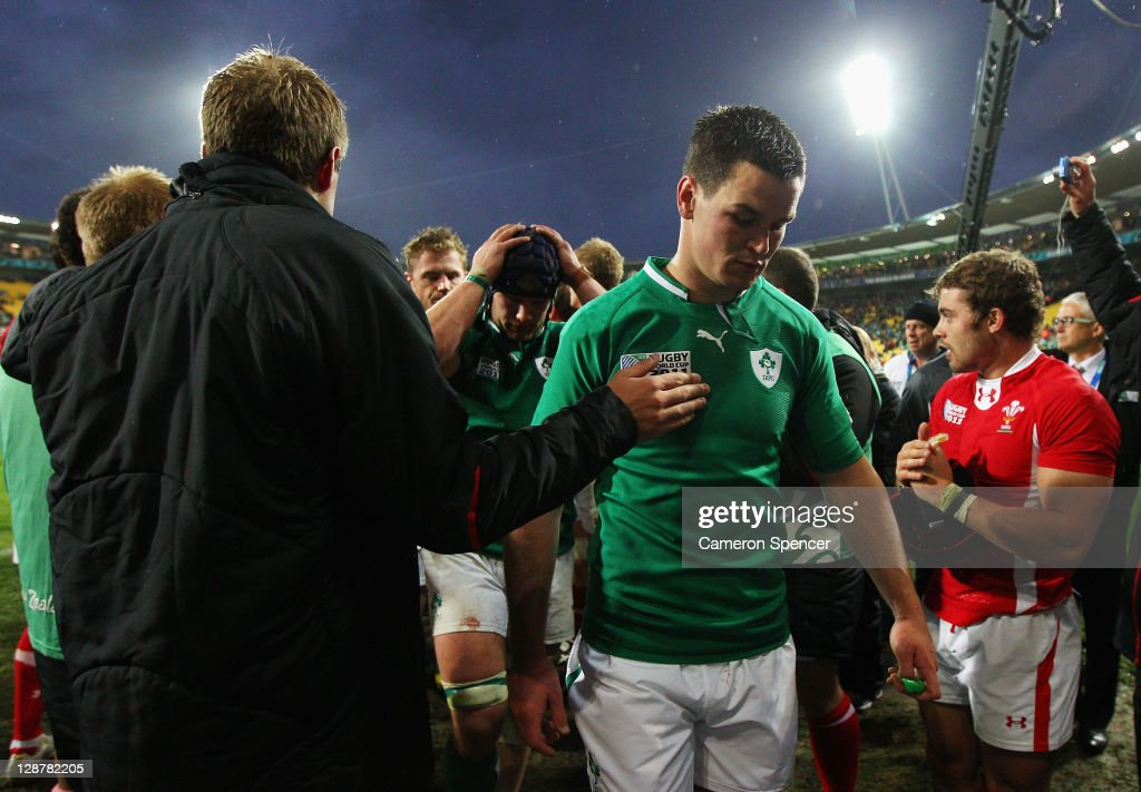 Dejeceted flyhalf Jonathan Sexton of Ireland walks off the pitch following his team's 22-10 defeat during quarter final one of the 2011 IRB Rugby World Cup between Ireland v Wales at Wellington Regional Stadium on October 8, 2011 in Wellington, New Zealand.