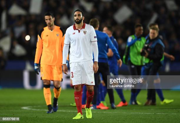 A dejected Adil Rami of Sevilla walks off the pitch following his team's 32 agg defeat during the UEFA Champions League Round of 16 second leg match...