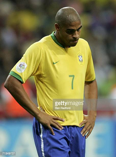 A dejected Adriano of Brazil leaves the pitch following his team's 10 defeat and exit from the competition during the FIFA World Cup Germany 2006...