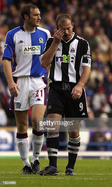 A dejected Alan Shearer after the Premiership Game between Blackburn Rovers and Newcastle at Ewood Park Blackburn England on October 15 2002