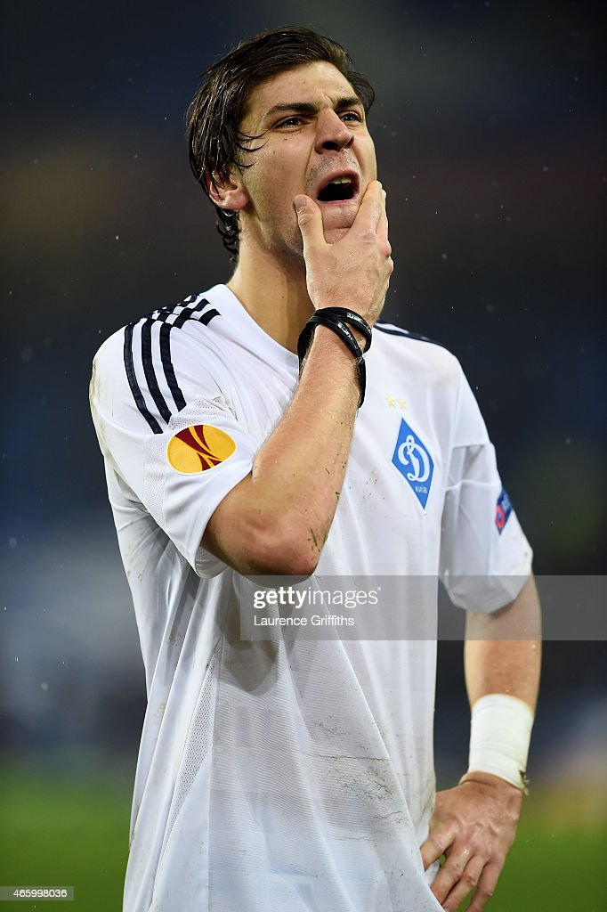 A dejected Aleksandr Dragovic of Dynamo Kyiv reacts following his team's 2-1 defeat during the UEFA Europa League Round of 16, first leg match between Everton and FC Dynamo Kyiv at Goodison Park on March 12, 2015 in Liverpool, United Kingdom.
