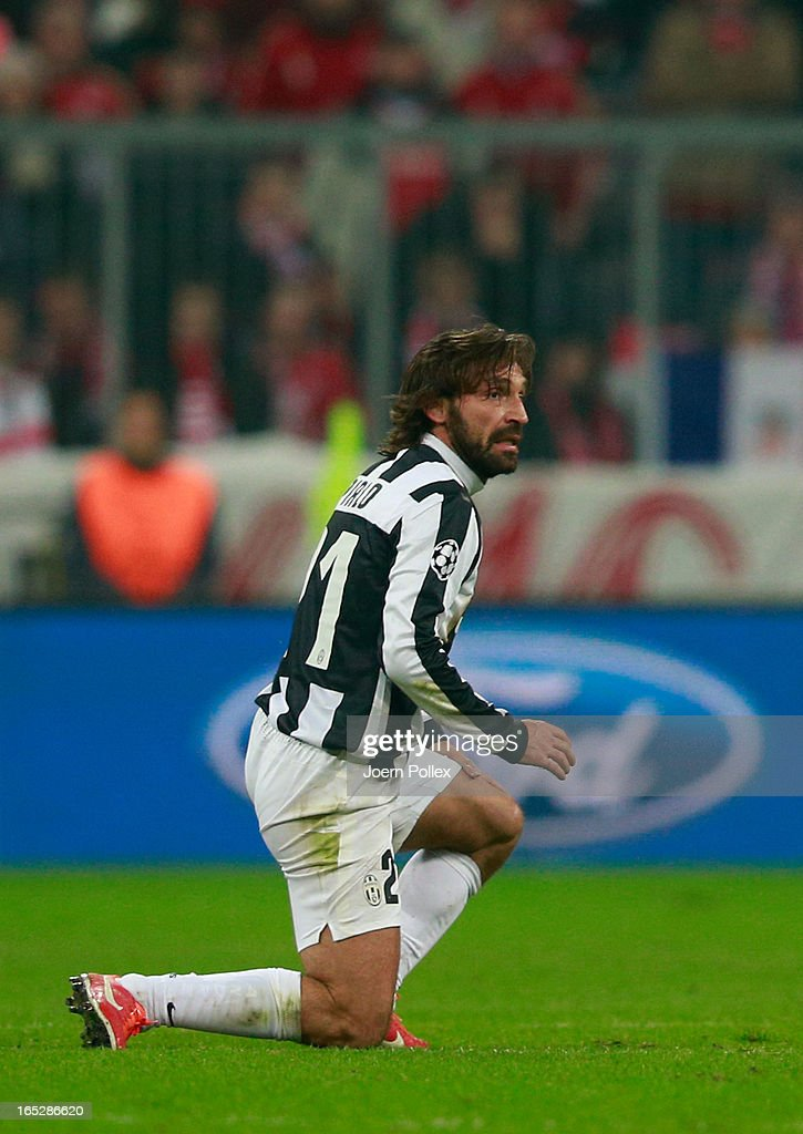 A dejected <a gi-track='captionPersonalityLinkClicked' href=/galleries/search?phrase=Andrea+Pirlo&family=editorial&specificpeople=198835 ng-click='$event.stopPropagation()'>Andrea Pirlo</a> of Juventus looks on during the UEFA Champions League quarter final first leg match between FC Bayern Muenchen and Juventus at Allianz Arena on April 2, 2013 in Munich, Germany.