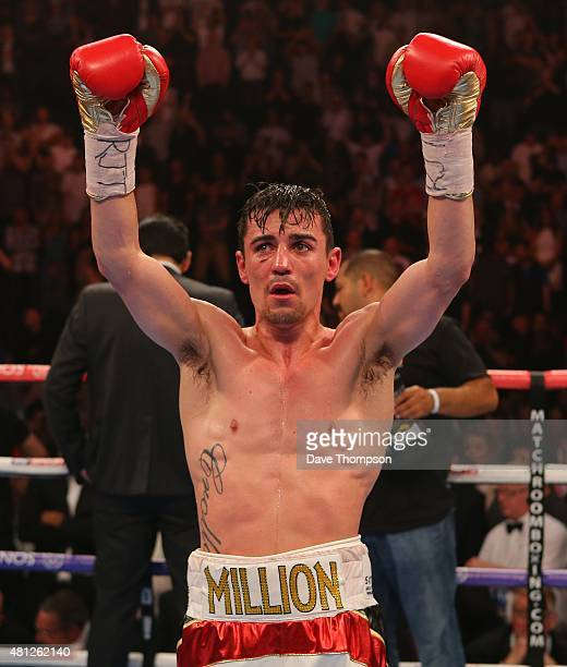 A dejected Anthony Crolla after a draw was announced as the result of his fight against Darleys Perez during their WBA World Lightweight Championship...