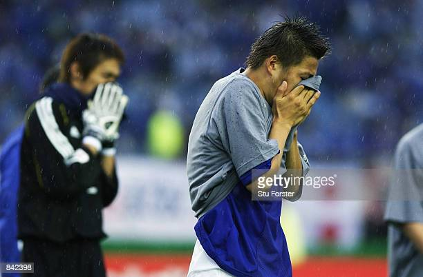 A dejected Atsushi Yanagisawa of Japan after the FIFA World Cup Finals 2002 Second Round match between Japan and Turkey played at the Miyagi Stadium...