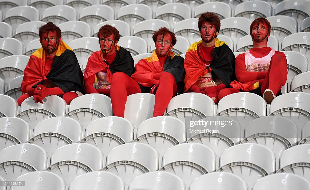 Dejected Belgium supporters are seen after the UEFA EURO 2016 quarter final match between Wales and Belgium at Stade Pierre-Mauroy on July 1, 2016 in Lille, France.