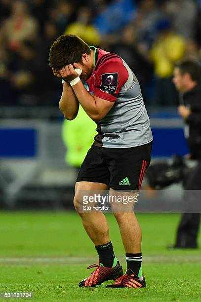 A dejected Ben Botica of Harlequins reacts after the final whistle blows during the European Rugby Challenge Cup Final match between Harlequins and...