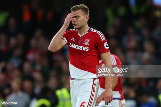A dejected Ben Gibson of Middlesbrough during the Premier League match between Chelsea and Middlesbrough at Stamford Bridge on May 8 2017 in London...