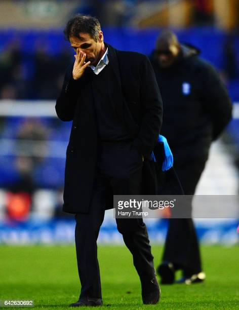 A dejected Birmingham City Manager Gianfranco Zola walks off at the final whistle during the Sky Bet Championship match between Birmingham City and...