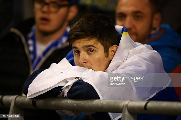 A dejected Bosnia and Herzegovina fan looks on during the UEFA EURO 2016 Qualifier play off second leg match between Republic of Ireland and Bosnia...