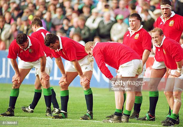 Dejected British Lions players pictured as they head for defeat during the third test match between New Zealand and the British Lions at Eden Park on...