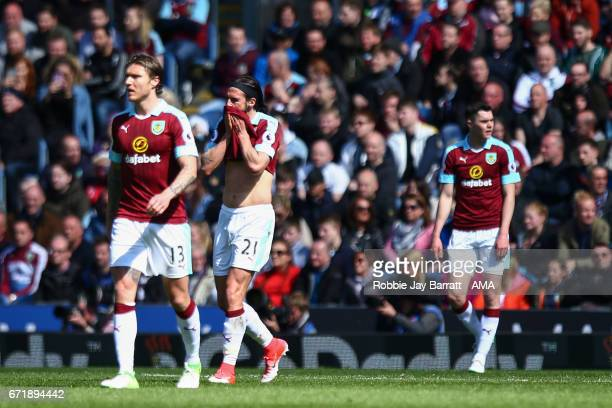 Dejected Burnley players after conceding during the Premier League match between Burnley and Manchester United at Turf Moor on April 23 2017 in...