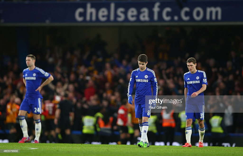 Dejected Chelsea players react following their team's 42 defeat during the FA Cup Fourth Round match between Chelsea and Bradford City at Stamford...