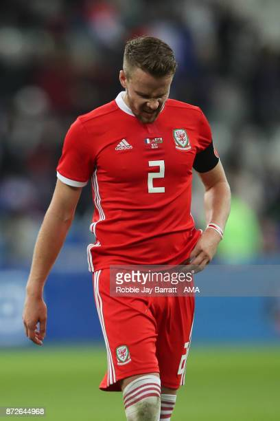 A dejected Chris Gunter of Wales at full time during the International Friendly fixture between France and Wales at Stade de France on November 10...
