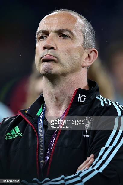 A dejected Conor O'Shea the Harlequins Director of rugby looks on following his team's 2619 defeat during the European Rugby Challenge Cup Final...