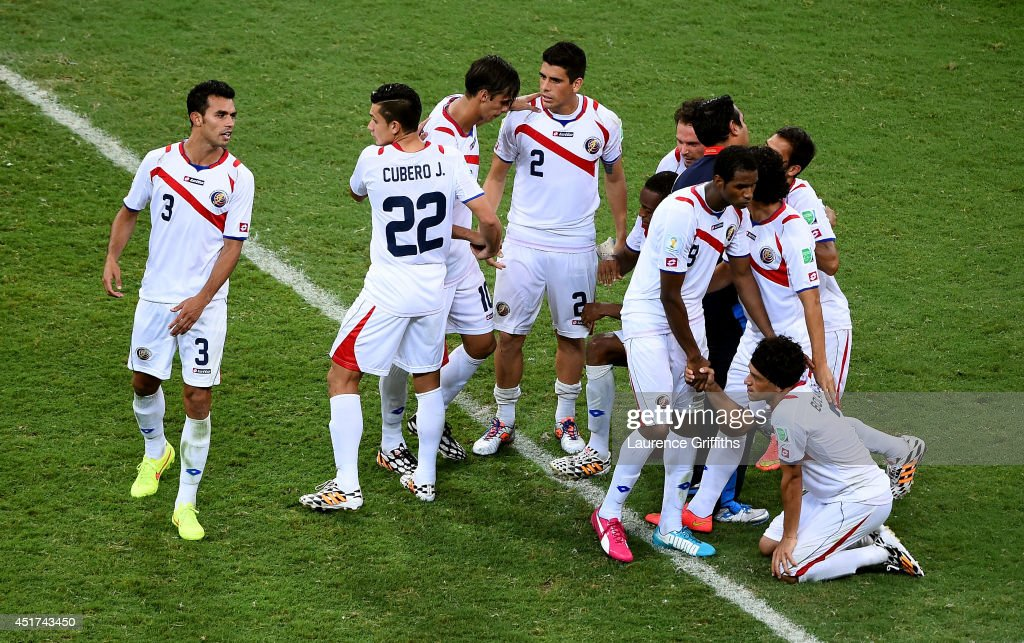 A dejected Costa Rica team react after being defeated by the Netherlands in a penalty shootout during the 2014 FIFA World Cup Brazil Quarter Final match between the Netherlands and Costa Rica at Arena Fonte Nova on July 5, 2014 in Salvador, Brazil.