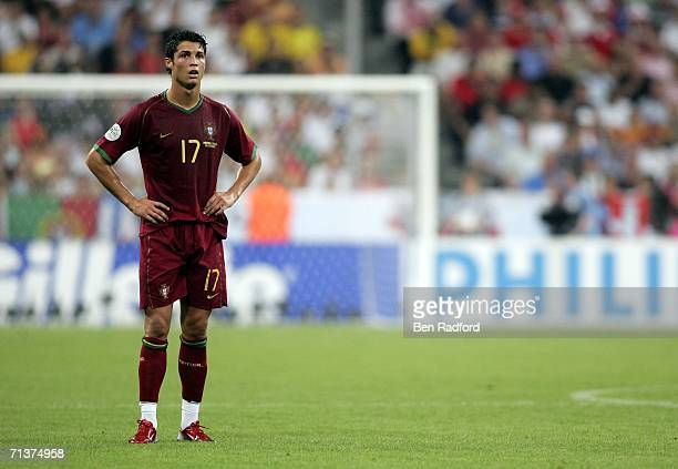 A dejected Cristiano Ronaldo of Portugal looks on during the closing stages of the FIFA World Cup Germany 2006 Semifinal match between Portugal and...