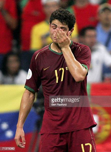 A dejected Cristiano Ronaldo of Portugal reacts following his team's 10 defeat and exit from the competition during the FIFA World Cup Germany 2006...
