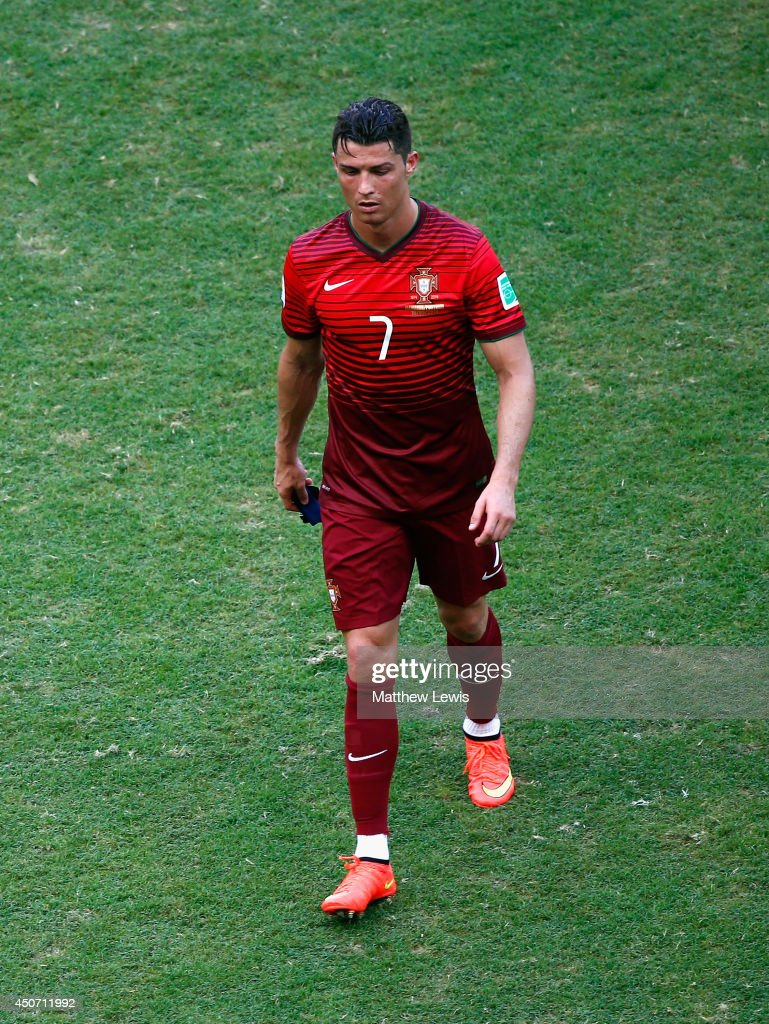 A dejected Cristiano Ronaldo of Portugal walks off the field after being defeated by Germany 4-0 during the 2014 FIFA World Cup Brazil Group G match between Germany and Portugal at Arena Fonte Nova on June 16, 2014 in Salvador, Brazil.