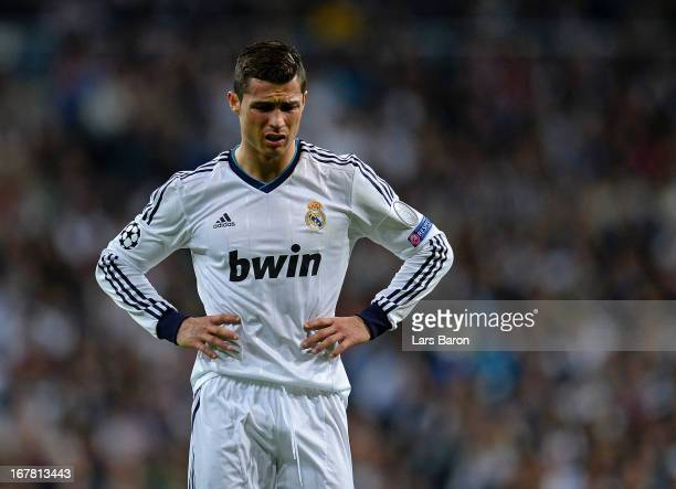 A dejected Cristiano Ronaldo of Real Madrid during the UEFA Champions League Semi Final Second Leg match between Real Madrid and Borussia Dortmund at...