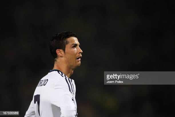 A dejected Cristiano Ronaldo of Real Madrid looks on during the UEFA Champions League semi final first leg match between Borussia Dortmund and Real...