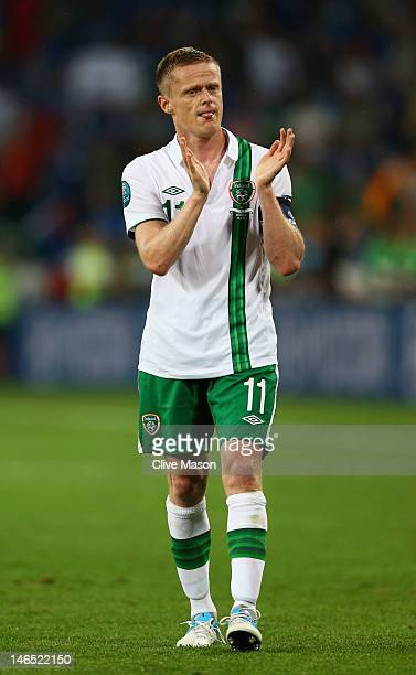 Dejected Damien Duff of Republic of Ireland after defeat in the UEFA EURO 2012 group C match between Italy and Ireland at The Municipal Stadium on...